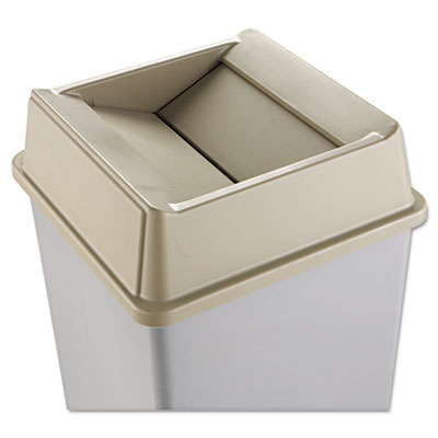 Rubbermaid Commercial Untouchable Square Swing Top Lid, Plastic, 20 1/8 x 20 1/8 x 6 1/4, Beige RCP2664BEI