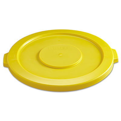 Rubbermaid Commercial Round Flat Top Lid, for 32-Gallon Round Brute Containers, 22 1/4, dia., Yellow RCP2631YEL