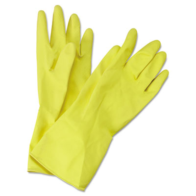 Boardwalk Flock-Lined Latex Cleaning Gloves, Medium, Yellow, 12 Pairs BWK242M