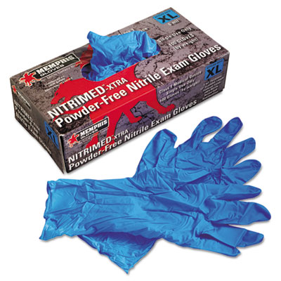 MCR Safety Nitri-Med Disposable Nitrile Gloves, Blue, X-Large, 100/Box MPG6012XL