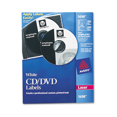 Avery Laser CD Labels, Matte White, 100/Pack AVE5698