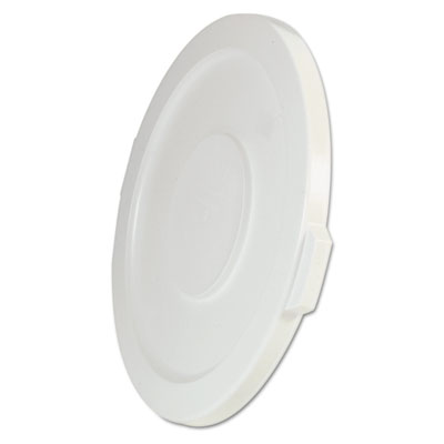 Rubbermaid Commercial Round Flat Top Lid, for 32-Gallon Round Brute Containers, 22 1/4, dia., White RCP2631WHI