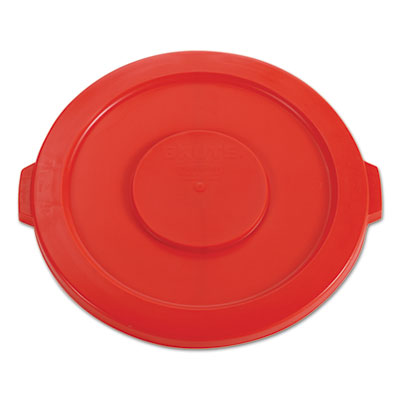 Rubbermaid Commercial Round Flat Top Lid, for 32-Gallon Round Brute Containers, 22 1/4, dia., Red RCP2631RED