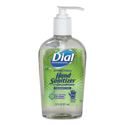 Dial Professional Antibacterial Gel Hand Sanitizer with Moisturizers, 7.5oz Pump Bottle, 12/Carton DIA01585
