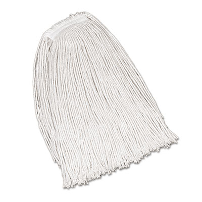 Rubbermaid Commercial Economy Cotton Mop Heads, Cut-End, Ctn, WH, 32 oz, 1-in. White Headband, 12/CT RCPV119