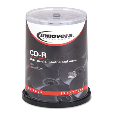 Innovera CD-R Discs, 700MB/80min, 52x, Spindle, Silver, 100/Pack IVR77990