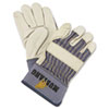 MPG 1935L Memphis Mustang Leather Palm Gloves, Blue/Cream, Large