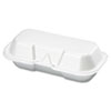 GNP 21100 Genpak Foam Hot Dog Hinged Container, 7-3/8 x 3-9/16 x 2-1/4, White, 125/Bag