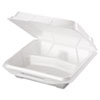 GNP 20310 Genpak Foam Hinged Carryout Container, 3-Compartment, 9-1/4x9-1/4x3, White, 100/Bag