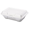 GNP 20500 Genpak Foam Hinged Carryout Container, Deep, 9-1/5 x 6-1/2 x 3, White, 100/Bag